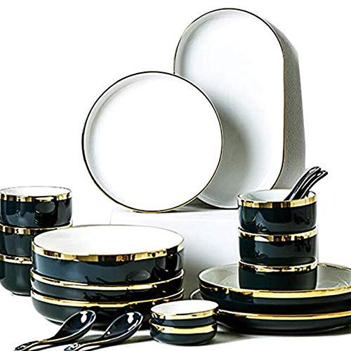 Juegos de platos y cuencos Juego de platos de cena de alta calidad para 2/4/6 personas, Ensalada/Postre, Plato de porcelana moderno Cuchara Vajilla casera, Cian, 26 piezas