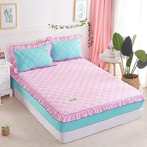 Double Mattress Protectorbed Sheet Single Piece Cotton-Filled Thick Mattress Protection Cover Non-Slip Fixed Bed Cover All-Inclusive Dust Cover-Pink Fight Blue_120X200【Padded Cotton Bed + Cotton-Fil