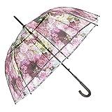 Paraguas Transparente Mujer - Paraguas Clásico de Burbuja Automatico - Estampado Flores - Fantasia a la Moda - Resistente Antiviento - 89 cm de diámetro - Perletti Chic - Morado