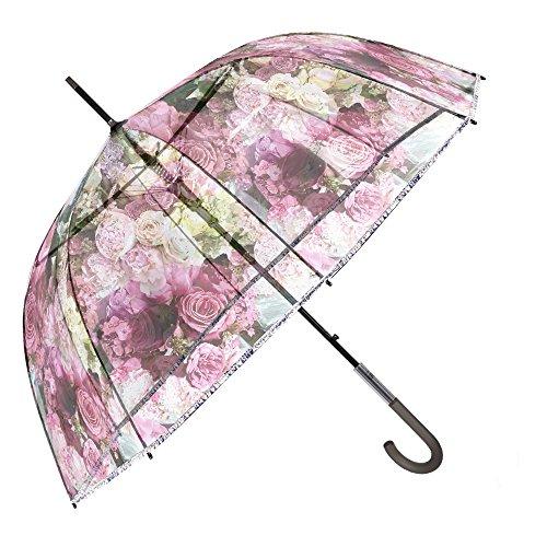 Ombrello Trasparente a Fiori da Donna - Ombrello Automatico a Cupola Rosa Floreale - Ombrello Lungo Resistente e Antivento con Fantasia alla Moda - Diametro 89 cm - Perletti Chic