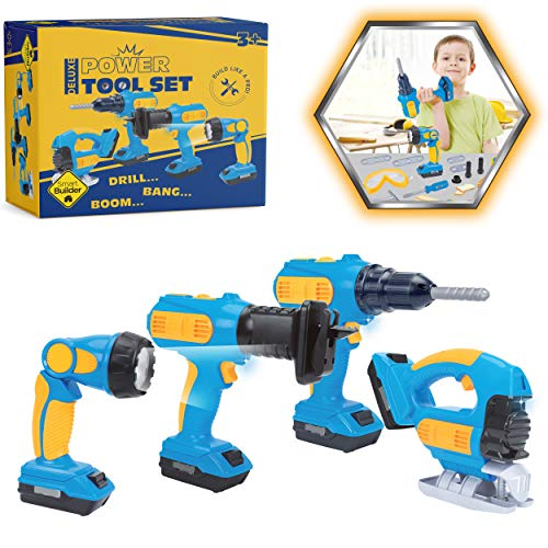 Smart Builder Toy Tool Set for Toddlers and Kids - 4 Hand Tools with Realistic Sounds and Functions, Pretend Play Electric Drill, Jigsaw, Reciprocating Saw, Flashlight, and 2 Battery Bases