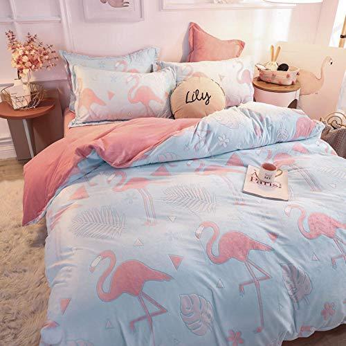 Ropa de cama de funda nórdica,Juego de cama de terciopelo tallado de doble cara de otoño, sábana de cama con volantes de terciopelo de cristal cálido impreso en el dormitorio K 220 * 240cm (4pcs)