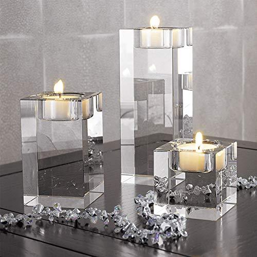 FRIDG Crystal Pillar Tealight Candle Holder, Faux Crystal Romantic Candle Holder Tealight Candlestick Home Wedding Decoration M