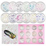 MEILINDS 12 escamas hexagonales de pez, lentejuelas, ultrafinas, purpurina, lentejuelas, escamas iridiscentes, brillantinas, para cara, cuerpo, cabello, uñas
