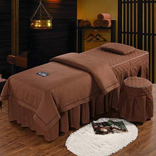 KSWD 4-stück Beauty-Bett-Abdeckung Einfarbiger Hautfreundliche Massageliegenbezug...