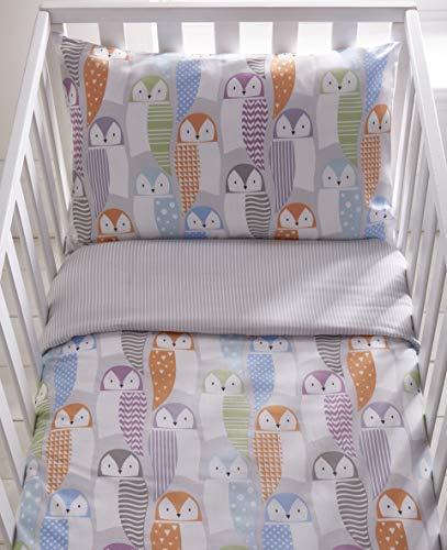 Kids Club Owls Reversible Duvet Cover and Pillowcase Set (Cot - 90cm x 120cm)