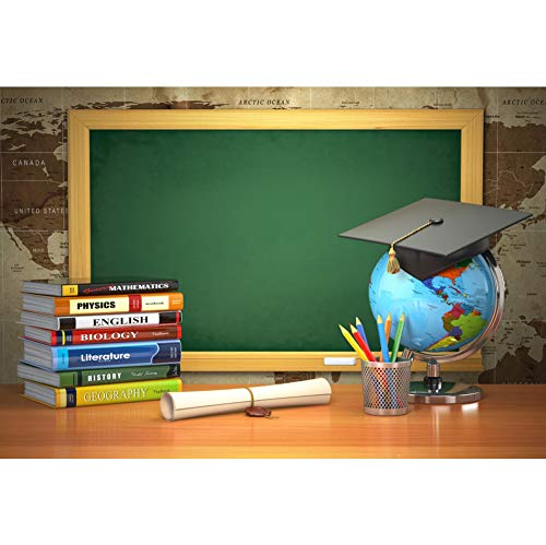 CSFOTO Back to School Backdrop 7x5ft Photography Background Online Course Decor Course Books Blackboard Tellurion Graduation Cap Homecoming Student Children Portrait Photo Studio Props