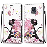 i-Case Funda del Teléfono Móvil para Samsung Galaxy S5, PU Billetera de Cuero Patrón de Moda Libro Flip Case Antigolpes Cartera PU Cuero Funda Soporte para Samsung Galaxy S5 5.1',Ángel de la Flor