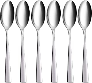 Soup Spoons Set of 6, YFWOOD 8.8 '' Heavy Duty Stainless Steel Dinner Spoons Dessert Spoons Teaspoons, Serving Spoons for Banquet Restaurant, Mirror Polished, Dishwasher Safe