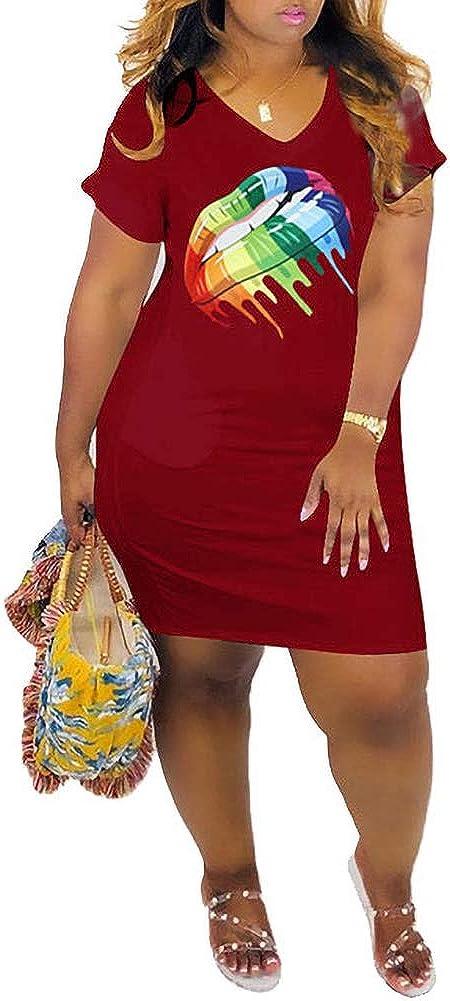 LAJIOJIO Women's Casual V Neck Dresses Lip Print Short Sleeve Mini T Shirt Dress