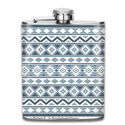 Petaca de acero inoxidable portátil, 7 onzas, azteca Essence IIIb, azul grises y blanco, para licor, whisky, vino, bandera, para escalada, camping, barbacoa, bar, fiesta, bebedor