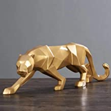 GEPIJPGEKH Modern Abstract Black/White Geometric Leopard Statue Model Desktop Resin Crafts Ornaments Panther Sculpture