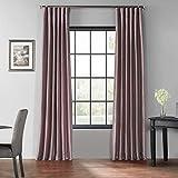 HPD Half Price Drapes PDCH-KBS11BO-96 Blackout Vintage Textured Faux Dupioni Curtain (1 Panel), 50 X 96, Smokey Plum