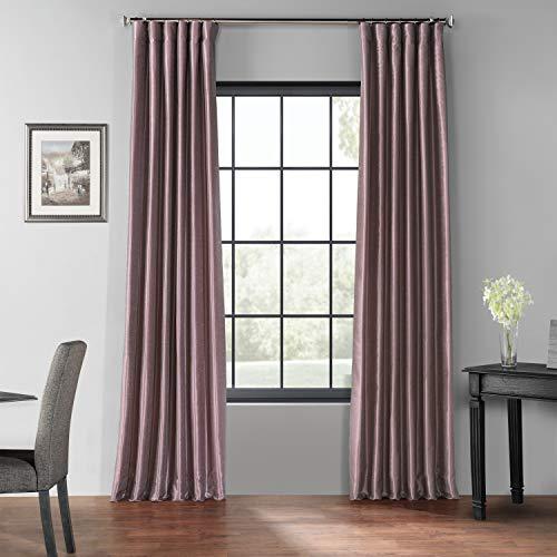 HPD Half Price Drapes PDCH-KBS11BO-108 Blackout Vintage Textured Faux Dupioni Curtain (1 Panel), 50 X 108, Smokey Plum
