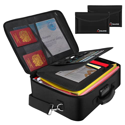 """Fireproof Document Bag Document Safe Organizer (17.2"""" x 12"""" x 5.8"""") with Two Money Bags, BALAPERI Large Fireproof Bag with Lock, Multi-Layer Portable File Storage for Important Letter Legal Files"""