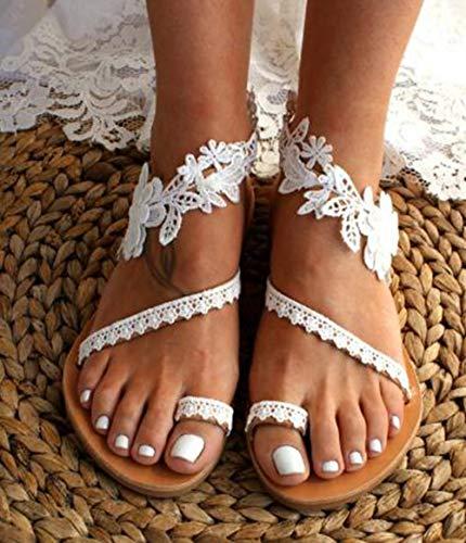 XQYPYL Damen Sommer Süße Blumensandalen Böhmische Strandschuhe Beiläufige Gehende Schuhe Flache Schuhe,01,36