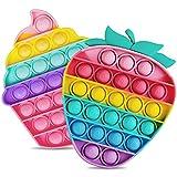 Yellcetoy 2 Stück Regenbogen-Pop-Blase Fidget Sinnes Spielzeug für Kinder Regenbogen Erdbeere Fidget Silikon Anxiety Relief Sinnes Spielzeug Blase Set für autistische Kinder Erwachsene