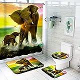 Fgolphd Duschvorhang Elefant Afrikanischer Elefant Duschvorhang180x200180x180 Bunt Shower CurtainsWasserdicht Badezimmerteppich 4-teiliges Set (180 * 180,5)