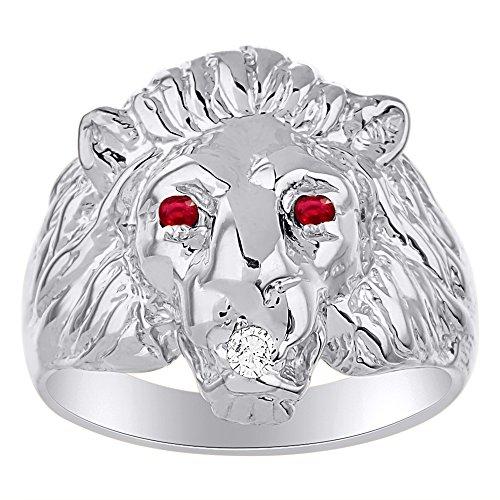 Diamond & Ruby - Anillo de cabeza de león, plata de ley o plata chapada en oro