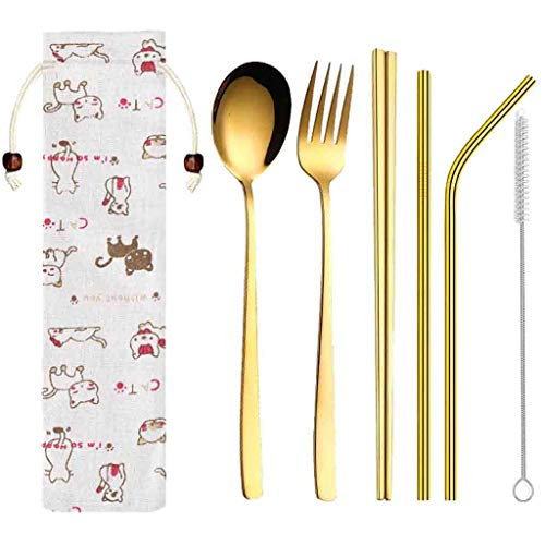 Besteck Set Edelstahl Hochwertige Spiegelpolierte Besteck-Sets Mehrzweckgebrauch für Haus Küche Restaurant Besteck Sets mit Geschenkbox (Gold)