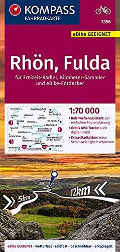 KOMPASS Fahrradkarte Rhön, Fulda 1:70.000, FK 3356: reiß- und wetterfest mit Extra Stadtplänen (KOMPASS-Fahrradkarten Deutschland, Band 3356)
