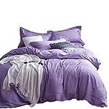 No-branded Sygjal Color sólido algodón Acolchado con sábanas de algodón Lavado de Cama Hojas compartida algodón 4pcs la Cubierta del edredón de Cama (Color : Púrpura, Size : 2.0m)
