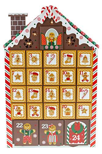 Clever Creations - Calendario de Adviento con Forma de Libro - Casita de Galleta de Jengibre con Luces LED - Madera Robusta - 26 x 5,1 x 40,6 cm