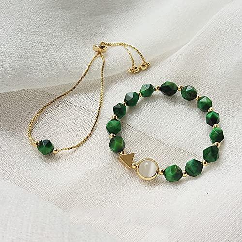 Natural Feng Shui curación Pulsera de Cristal 7a Afortunado Encanto Equilibrio Pulsera Verde Tigre Ojo Piedra Vacaciones joyería Amuleto atrae Dinero Prosperidad Suerte,Double