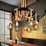 Aipatal Vintage 6 Light Chandelier Industrial Retro Ceiling Lights Farmhouse Dining Room Lighting Fixtures Hanging Rustic Chandeliers Adjustable Rope Black Big Hanging Light for Kitchen Island