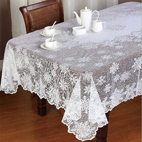 Ansenesna Tischdecke Weiß Rund Spitze Decke Stoff Vintage Tischtuch Für Festlich Party Hochzeit (152x228cm)