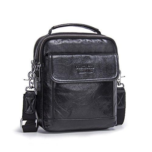 "Contacts Echtes Leder Herren 7.9\""Laptop Mini Messenger Crossbody Tasche Tote Handtasche Business lässige Umhängetasche (Schwarz)"