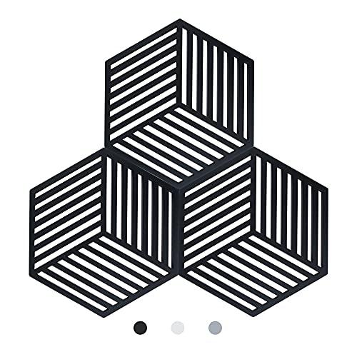 Topfuntersetzer 3pcs Silikon untersetzer Topf Topflappen pülmaschinenfest Hitzebeständigerung rutschfest und Hitzebeständig bis 250°C-Küchen Glasöffner, Löffelhalter(Schwarz)
