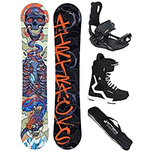 AIRTRACKS Snowboard Set (Paquete Completo) Tabla Diamond Heart Carbon Wide (Hombre)+Fijaciones Master FASTEC+Botas+SB Bolsa/Nuevo 4