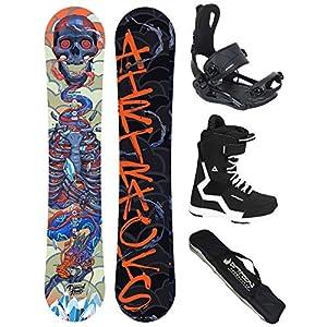 AIRTRACKS Snowboard Set (Paquete Completo) Tabla Diamond Heart Carbon Wide (Hombre)+Fijaciones Master FASTEC+Botas+SB… 3