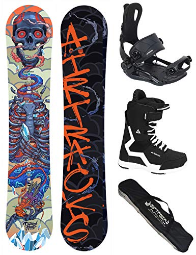Airtracks Snowboard Set - Board Diamond Heart Rocker 155 - Softbindung Master - Softboots Strong 43 - SB Bag