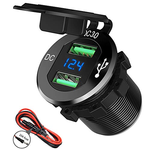 12V USB Outlet, SunnyTrip 12V/24V 36W Aluminum Waterproof Dual QC3.0 USB Fast Charger Socket Power Outlet Adapter w/LED Digital Voltmeter for Car, Marine, Boat, Motorcycle, Truck, Golf Cart, etc