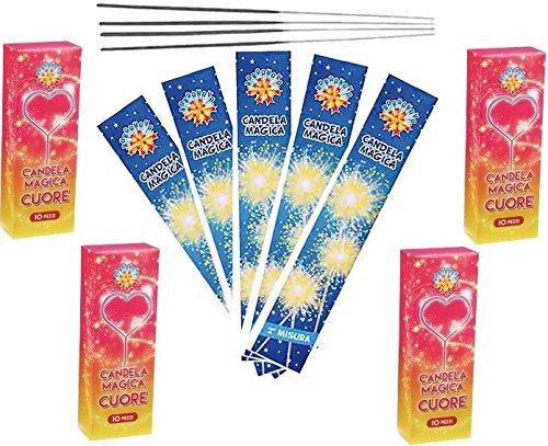 Zeus Party 200 CANDELINE SCINTILLINE BASTONCINI LUMINOSI- 100 CANDELE A CUORE + 100 BASTONCINI LUMINOSI