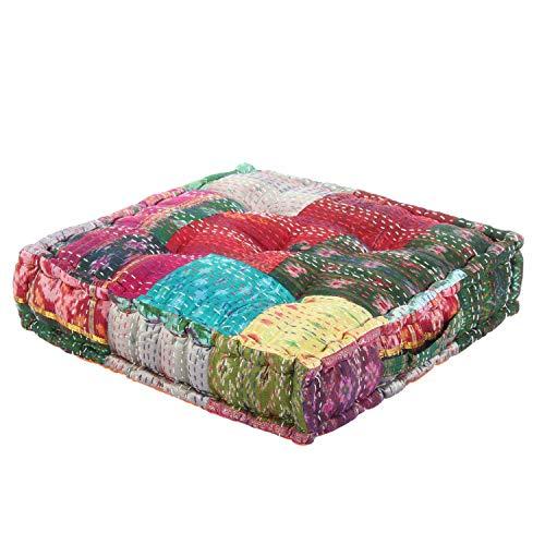 Casa Moro Patchwork Sitzkissen Kanthara Grün-Bunt 45x45 cm Höhe 10cm quadratisch inklusive Füllung   Indisches Yogakissen Matratzenkissen für einfach schöner Wohnen   MA407