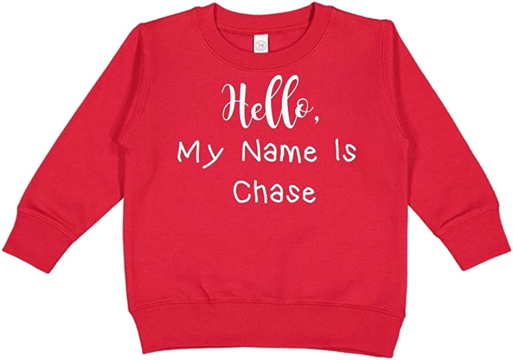 Mashed Clothing Hello My Name is Chase Personalized Name Toddler//Kids Sweatshirt