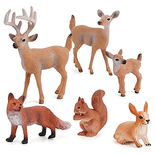 6 Pcs Simulated Forest Animal Models Figure Toy Playset, Woodland Creatures Figurines Miniature Toys Include Deer , Fox, Rabbit, Squirrel Treasures Science Educational Props