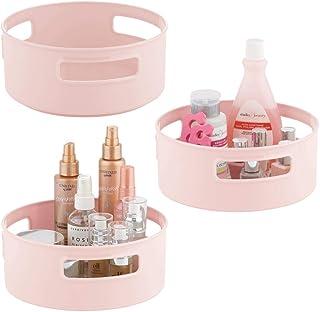 mDesign panier de rangement tournant (lot de 3) – rangement salle de bain rotatif – idéal comme rangement maquillage pour ...