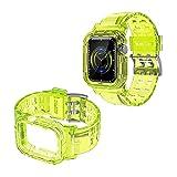 CBUS - Cinturino retrò in silicone trasparente compatibile con Apple Watch Series SE/6/5/4/3/2 (giallo)