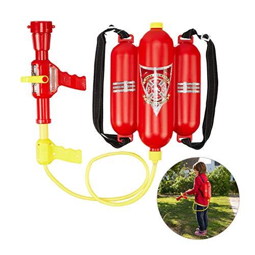 Relaxdays 10027680 Feuerwehr Wasserspritze, 2,5 l Wassertank, 5 m Reichweite, 2 Sprühfunktionen, Löschrucksack Kinder, rot-gelb