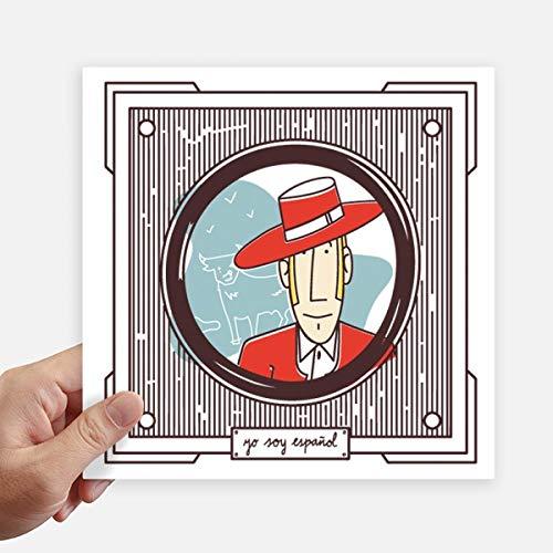 DIYthinker Rode Kleding Spaanse Illustratie Vierkante Stickers 20Cm Wandkoffer Laptop Motobike Decal 4 Stks