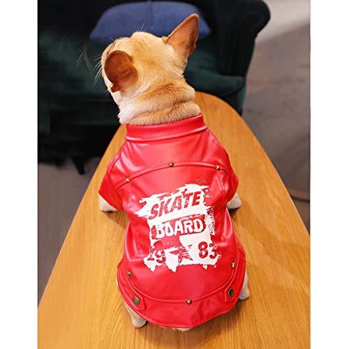 Ffshop Ropa para Perros La Ropa de Perro de Cuero de la Motocicleta del Pitbull del Perro del Bar Bully Tide Marca Y Otoño Invierno pequeño Pet Mediana otoño del Perro Ropa para Mascotas (tama