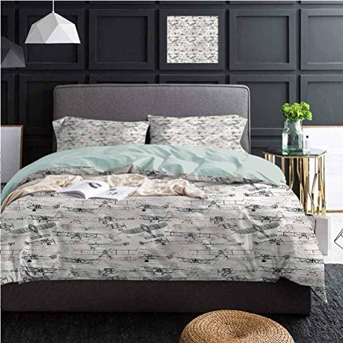 Airplane 3-Piece Duvet Cover Set Old School Planes Best Hotel Luxury Bedding | 1 Duvet Cover + 2 Pillow Shams X-Long Twin Size