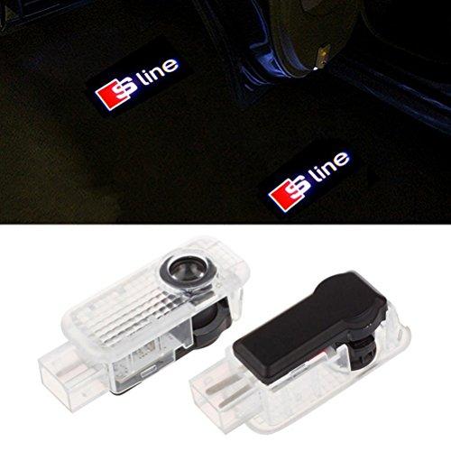 Aukur 2PCS logo projector laser etiquette lamp for Audi A1 A3 A4 A5 A6 A7 A8 Q3 Q7 R8 RS TT.