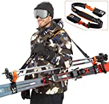 Sklon Ski Strap and Pole Carrier   Avoid The Struggle and Effortlessly Transport Your Ski Gear Everywhere You Go   Features Cushioned Shoulder Sling   Great for Families - Men, Women and Kids - Orange