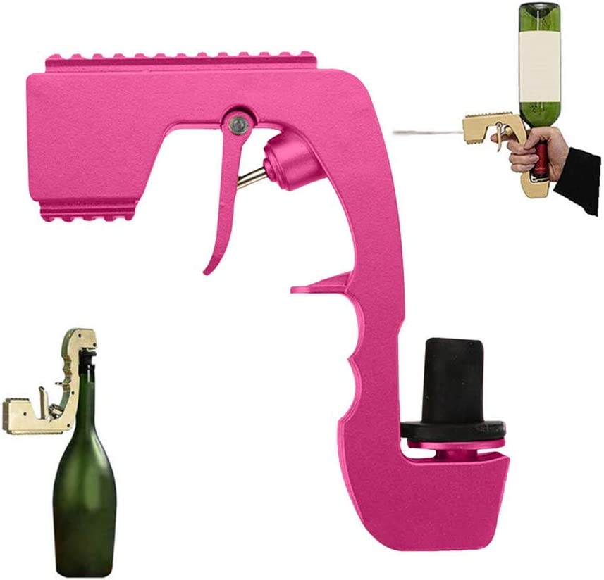 16CM12CM Bubbly Blaster Champagne Gun,Wine Stopper Champagne Wine Dispenser Fountain Bottle Beer Ejector Feeding for Wedding Party Night Club Bar Tool,Black
