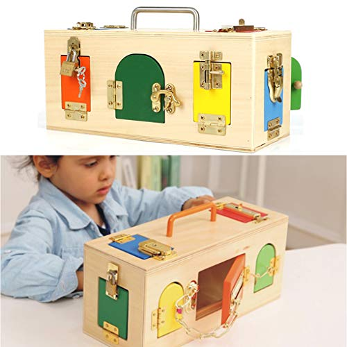 D DOLITY Montessori Caja de Cerradura de Madera Juguete Educativo Temprano para Niños